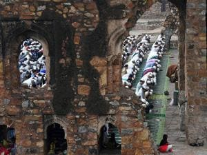 Muslims offering Namaz at Jami Masjid (Mosque) in Feroz Shah Kotla Fort on the occasion