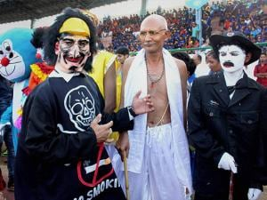 People dressed up as famous personalities taking part in the 'Carnival rally' to mark World  No Tobacco Day in Bhopal