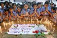 School children pay tribute to the former President APJ Abdul Kalam