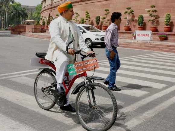 Arjunram Meghwal, BJP, Budget session, Parliament, Bicycle