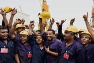 Mazagon dock workers jubilate at the launch of Indian Navy's new destroyer, INS Visakhapatnam