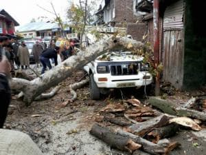 A vehicle demaged after massive earthquake