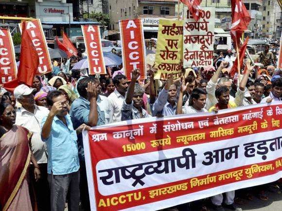Bharat bandh, Trade Unions, Bharat bandh photos, Trade union workers, All India Central Council of Trade Unions, Country-wide one-day strike