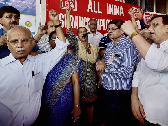 Bharat bandh, Trade Unions, Bharat bandh photos, Insurance employees, Trade union workers, Country-wide one-day strike