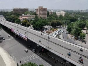 A flyover wears almost deserted look during trade union workers' nationwide strike