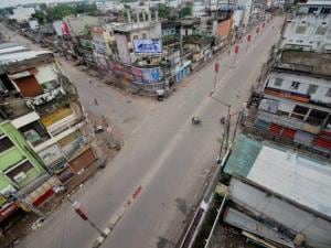 Deserted roads during the nationwide strike called by trade unions in Agartala