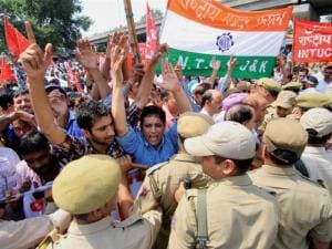 Policemen stop Centre of Indian Trade Union