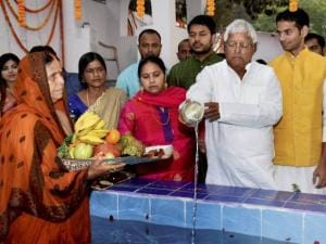 RJD chief Lalu Prasad with his wife and former Chief minister Rabri Devi
