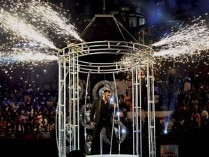 Salman Khan performs during the Filmfare Awards function