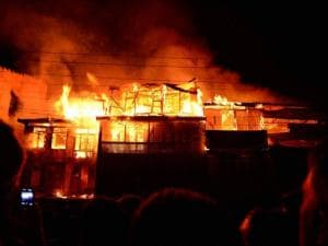 Fire destroys residential houses at Waniyar Chowk Safakadal