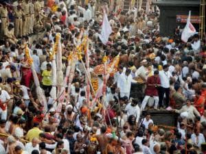 Devotees take holy dips during the second Shahi Snan