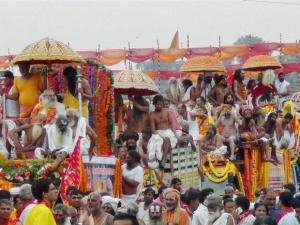 Sadhus arrive take holy dips during the second Shahi Snan