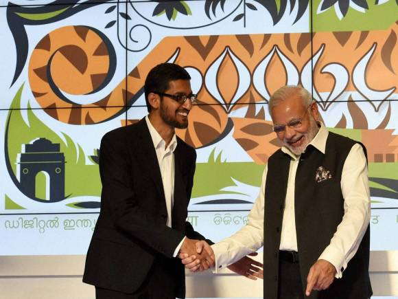Prime Minister of India, Narendra Modi, Sundar Pichai, Google CEO, Mountain View, California