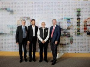 Prime Minister Narendra Modi poses for  a group photo with Google CEO Sundar Pichai and other officials