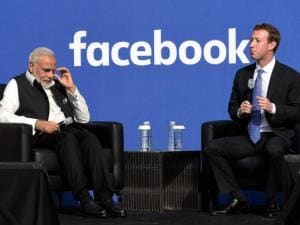 Prime Minister Narendra Modi with CEO of Facebook, Mark Zuckerberg