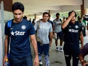 Indian captain M S Dhoni with team mates
