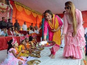 Jaya Prada offering Kumari Puja on the first day of Navratri festival