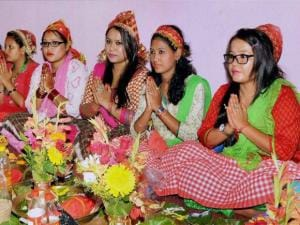 Nepalee devotees offer prayers on the first day of Durga Puja