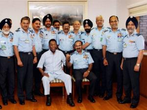Chief of the Air Staff Air Chief Marshal Arup Raha with Brazilian football legend Pele