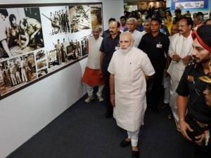 Prime Minister Narendra Modi at an exhibition at Shauryanjali