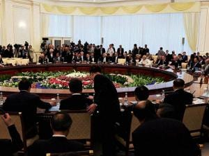 Prime Minister Narendra Modi and other leaders at the SCO Summit in Tashkent