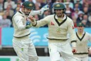Australia's Adam Voges celebrates with Australia's Peter Nevill