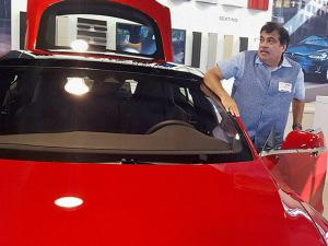Nitin Gadkari at Tesla electric car manufacturing unit