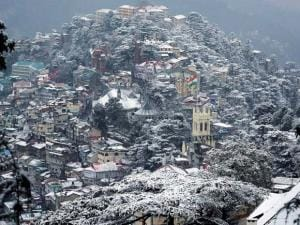 A view of Shimla city draped in snow after heavy snowfall