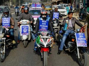 Save Indian Family activists take out a rally for men's rights in Gurgaon