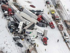 Vehicles pile up at the site of a fatal crash near Fredericksburg, Pa