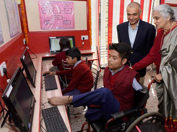 Amar Jyoti Charitable Trust, Uma Tuli, ICRA, Computer, physically challenged, physically disable, Picture of the day, Business Standard