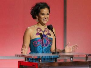 Anoushka Shankar speaks at the 58th annual Grammy Awards