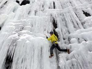 ice climber Don Mellor climbs Pitchoff Quarry in Keene, N.Y.