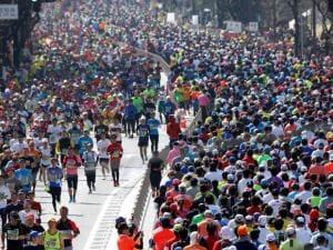 Runners make their way during the Tokyo Marathon in Tokyo