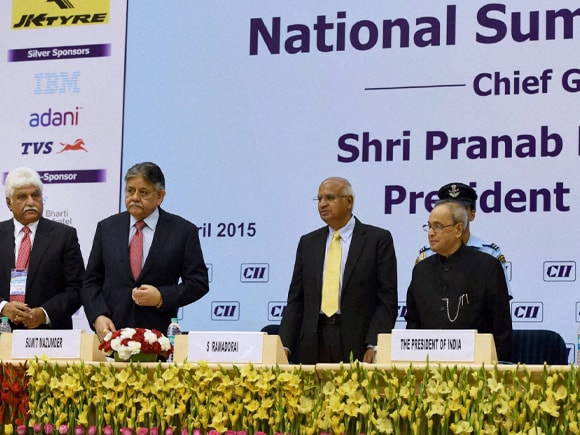 President of India, Pranab Mukherjee, S Ramadorai, National Skill Development Agency, National Skill Development Corporation, Anjuly Chib Duggal, Secretary, Ministry of Corporate Affairs, CII president Summit, Mazumdar