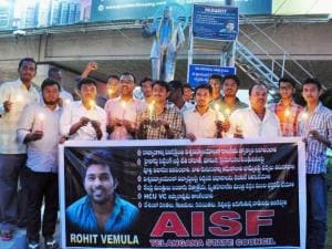 all india students federation (aisf) activists stage a candle light protest demanding justice for dalit research scholar of hyderabad central university rohith vemula