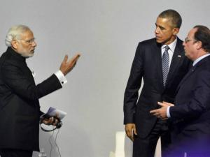 Narendra Modi, Francois Hollande and Barack Obama