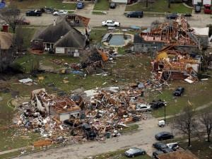 This aerial photo shows damage after a tornado ripped through the area