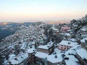 A view of the city after heavy snowfall in Shimla
