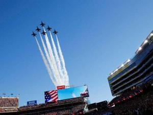 The Blue Angels fly over the stadium before the NFL Super Bowl 50 football game Sunday, Feb. 7, 2016, in Santa Clara