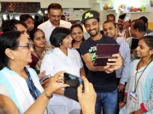 Ajinkya Rahane and former captain Ravi Shastri at Tata Memorial Hospital at Parel in Mumbai