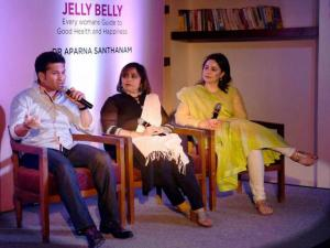 Sachin Tendulkar with his wife Anjali during the launch of a book 'Jelly Belly' wrriten by Aparna Santhanam
