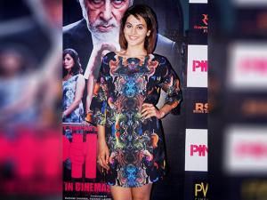 Taapsee Pannu interacts with media during promotion