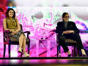 Amitabh Bachchan with co-star of film 'Pink' Taapsee Pannu during NDTV Youth for change conclave