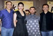 Aamir Khan and Anushka Sharma with filmmakers Rajkumar Hirani and Vidhu Vinod Chopra