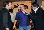 Amitabh Bachchan with filmmakers Rajkumar Hirani and Vidhu Vinod Chopra