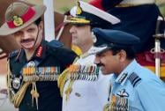 Air Chief Marshal Arup Raha, Naval Chief Admiral RK Dhowan and Army chief Gen Dalbir Singh