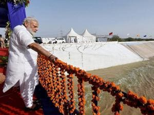Prime Minister Narendra Modi at the inauguration of pumping station