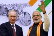 Prime Minister Narendra Modi and Russian President Vladimir Putin during the World Diamond Conference