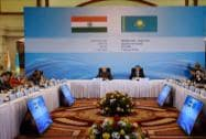 Narendra Modi and Karim Massimov at a round table interaction with CEOs and Business leaders